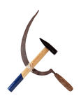 The Hammer And Sickle. Famous Communistic symbol. The hammer and sickle. Isolated with clipping path stock photography