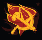 Hammer and sickle on the flame star vecto Stock Images