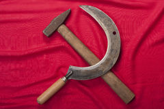 Hammer and sickle on red Stock Photography