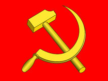 Hammer and sickle on red Stock Photos