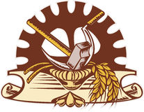 Hammer sickle wheat mechanical gear cog Stock Photography