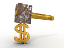 Hammer with sign dollar Royalty Free Stock Image