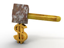 Hammer with sign dollar Royalty Free Stock Photo