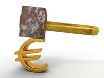 Hammer with sign euro Royalty Free Stock Photo