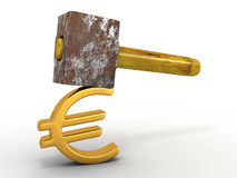 Hammer with sign euro Royalty Free Stock Images
