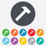 Hammer sign icon. Repair service symbol. Round colourful 11 buttons royalty free illustration