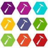 Hammer slag of welder icon set color hexahedron Stock Photo
