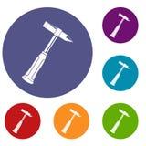 Hammer slag of welder icons set Royalty Free Stock Photography