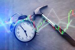 Hammer smash alarmclock business finance concept Stock Image