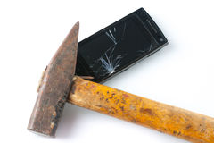 Hammer smashing smart phone Stock Image