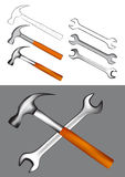 Hammer and Spanner Stock Photos