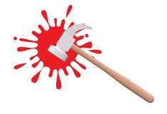 A hammer and a splash of fresh blood. A computer generated illustration image of a hammer and a splash of fresh red blood against a white backdrop stock illustration
