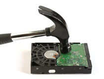 Hammer striking computer hard disk drive Royalty Free Stock Image