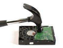 Hammer striking computer hard disk drive Royalty Free Stock Image