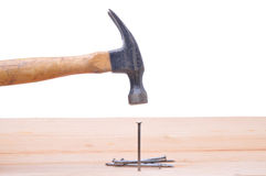 Hammer Striking Nail Royalty Free Stock Photos