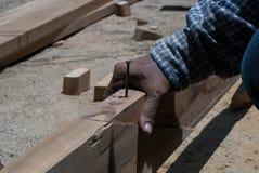 Hammer. Striking a nail.Construction Man Using royalty free stock photo