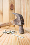 Hammer and tack Royalty Free Stock Photos