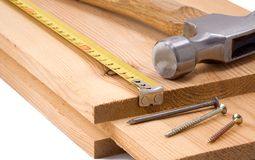 Hammer and tape measure Stock Photo