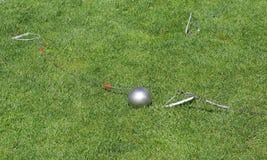 Hammer throw. Ball in grass Royalty Free Stock Photos