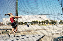 Hammer Throw 2 - focus on the net. Particepant in the women's hammer throw competition during a college track meet stock photography