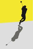 Hammer throw. Silhouette of a hammer thrower Stock Photo