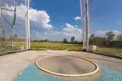 Hammer throw cage at sunny day. Outdoor shot of hammer throw cage at sunny day stock image