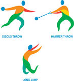 Hammer Throw Discus Throw Long Jump Icon. Icon illustration showing athlete playing the sport of track and field hammer throw, discus throw, long jump Stock Images