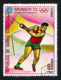 Hammer throw. EQUATORIAL GUINEA - CIRCA 1972: stamp printed by Equatorial Guinea, shows Hammer throw, circa 1972 royalty free stock image