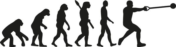 Hammer throw evolution. Silhouette of Hammer throw evolution vector Royalty Free Stock Images