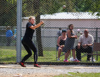 Hammer Throw. A female athlete swings and makes her first hammer throw attempt during a track meet in Redding, California on May 26, 2014 stock images