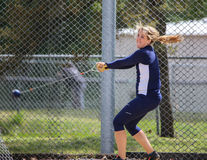 Hammer Throw. A female athlete swings and makes her first hammer throw attempt during a track meet in Redding, California on May 26, 2014 stock photography