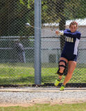 Hammer Throw. A female athlete swings and makes her first hammer throw attempt during a track meet in Redding, California on May 26, 2014 stock photos