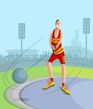 Hammer Throw Player. Cartoon style Hammer Throw player in vector Royalty Free Stock Image