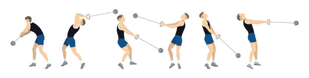 Hammer throw set. Set athkete`s motion of throwing hammer Royalty Free Stock Photo