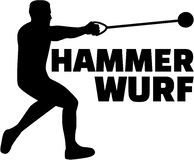 Hammer throw silhouette with german word. Vector Stock Photos