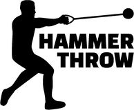 Hammer throw silhouette with word. Vector Royalty Free Stock Photos