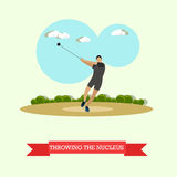 Hammer Throw Sportsman. Track And Field Athletics. Flat Design Royalty Free Stock Photos