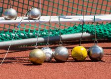 Hammer throw on the track and field stade.  stock image