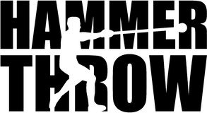 Hammer throw word with thrower cutout Royalty Free Stock Photo