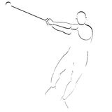 Hammer throwing. Abstract image of the sportsman. Illustration on white background Stock Photography
