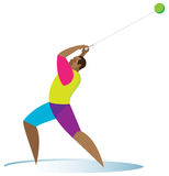 Hammer throwing. Athlete. A powerful and tall athlete performs a hammer throw Royalty Free Stock Image
