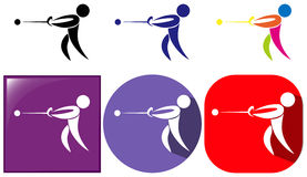 Hammer throwing icon in three designs Royalty Free Stock Photos