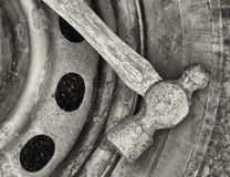 Hammer And Tire Royalty Free Stock Photo