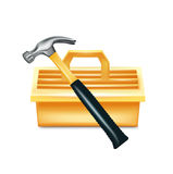Hammer and tool box isolated Stock Images