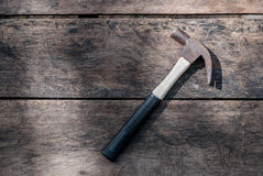 Hammer Tool. Carpenter Claw Hammer Tool on Wood Boards Stock Photo