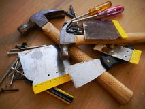Hammer tool screwdriver toolbox Royalty Free Stock Images