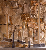 Hammer tools of stonecutter masonry work Royalty Free Stock Photography