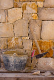 Hammer tools of stonecutter masonry work Stock Photos