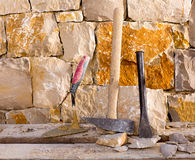 Hammer tools of stonecutter masonry work Royalty Free Stock Images