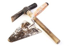 Hammer and trowel Stock Image